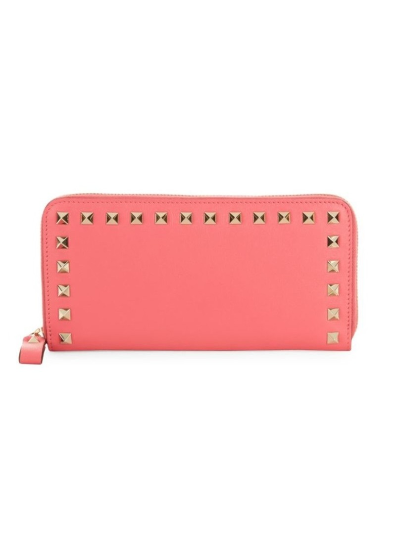Valentino Studded Leather Zip-Around Wallet