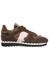 Valentino Studded Sole Camouflage & Suede Sneakers