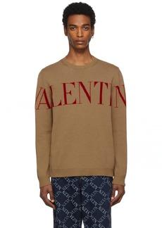 Valentino Tan & Red Cashmere Logo Sweater