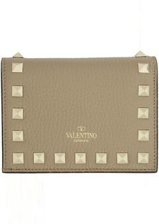 Tan Valentino Garavani Small Rockstud Wallet