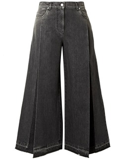 Valentino The Rockstud Cropped Pleated Wide-leg Jeans