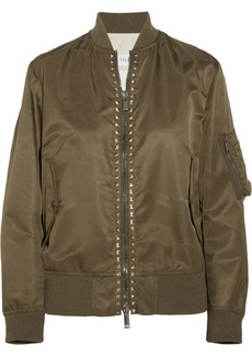 Valentino The Rockstud Satin Bomber Jacket