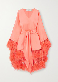 Valentino Tie-detailed Feather-trimmed Silk-satin Tunic
