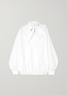 Valentino Tie-detailed Gathered Cotton-blend Poplin Blouse