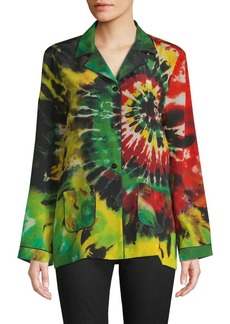Valentino Tie-Dyed Silk Button-Down Shirt