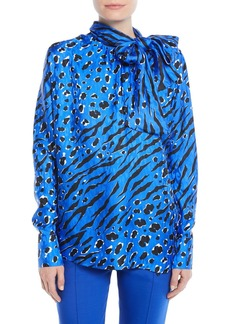 Valentino Tie-Neck Long-Sleeve Animal-Print Jacquard Blouse