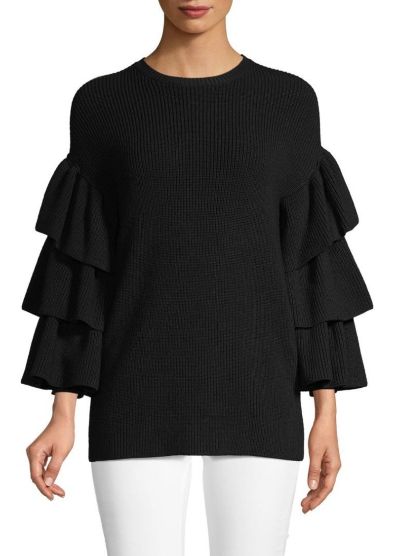Valentino Tiered Bell-Sleeve Wool Sweater