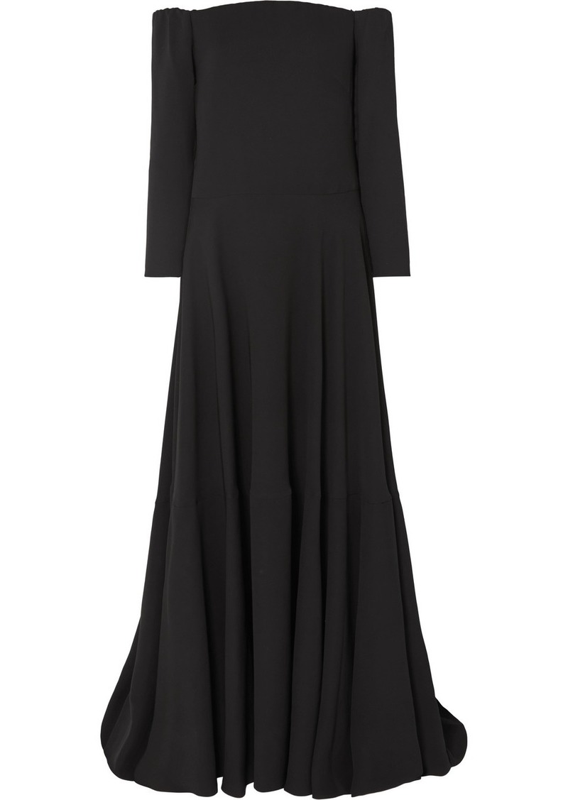 Valentino Tiered Off-the-shoulder Silk-cady Gown