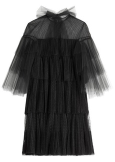 Valentino Tiered Tulle Dress with Point d'esprit