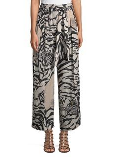 Valentino Tiger-Print Silk Pull-On Pants