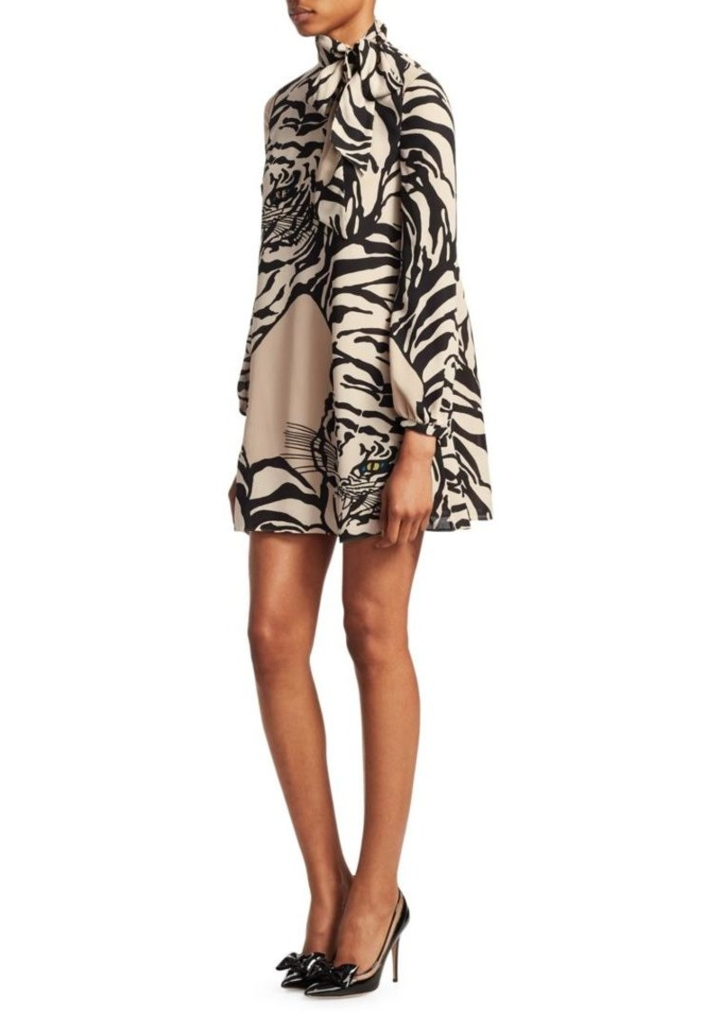 47a077abb6 Valentino Tiger-Print Silk Tie-Neck Tunic Dress