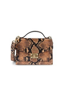 Valentino by Mario Valentino Titti Snakeskin-Embossed Leather Top Handle Bag