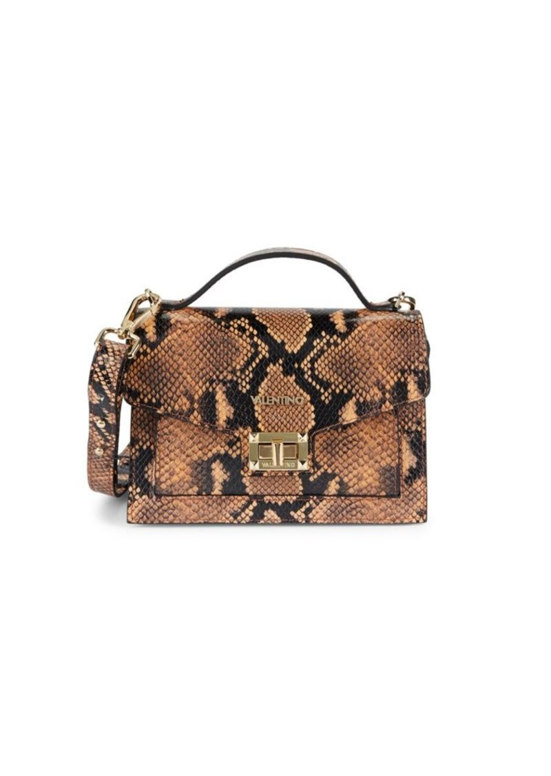 Titti Snakeskin-Embossed Leather Top Handle Bag