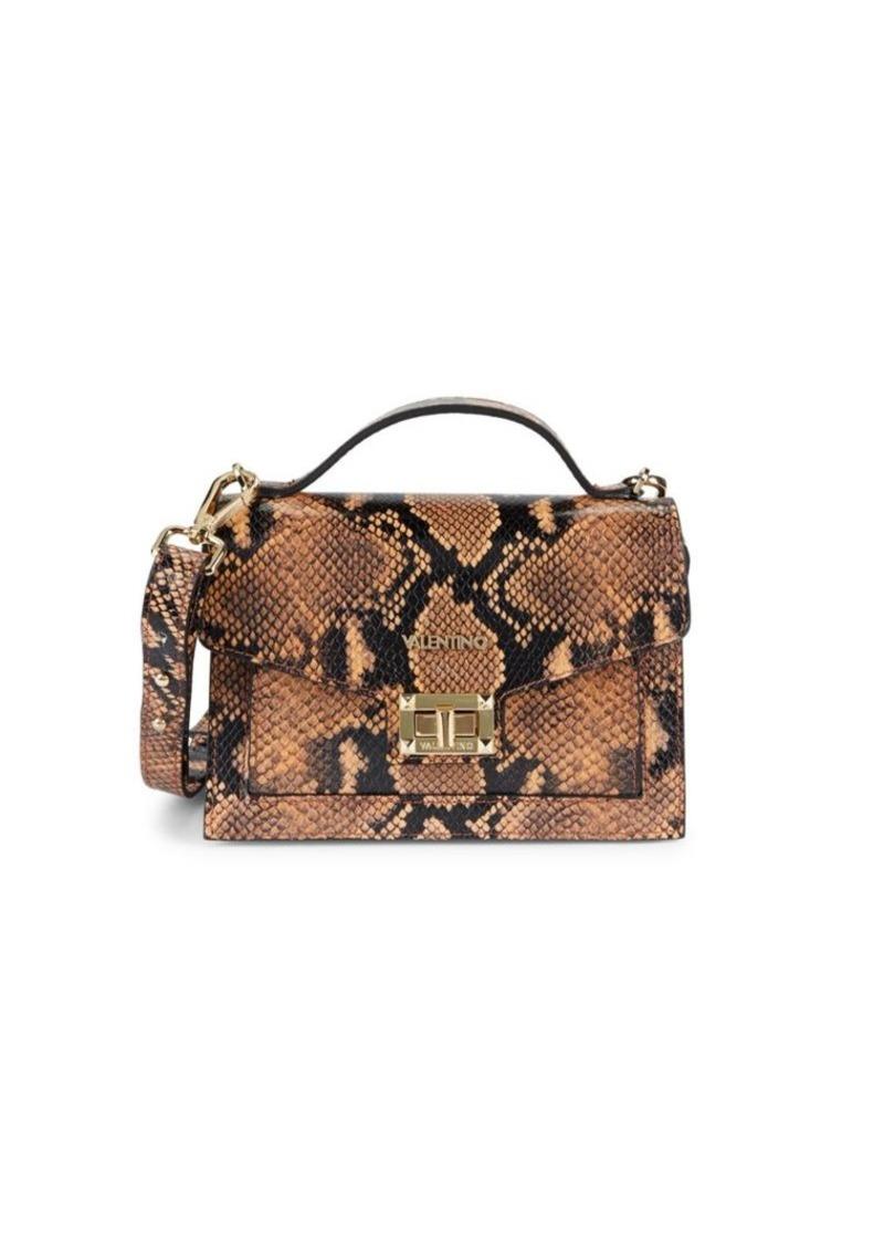 Valentino by Mario Valentino Titti Snakeskin-Embossed Leather Crossbody Bag