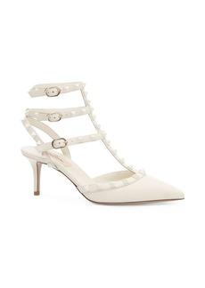 Valentino Tonal Rockstud Three-Strap Heels
