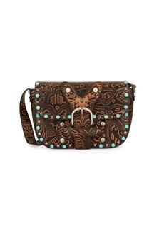 Valentino Tooled & Embellished Leather Shoulder Bag