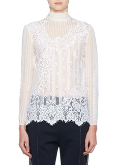 Valentino Turtleneck Long-Sleeve Chiffon Lace Blouse
