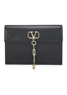 Valentino V Chain Small Calf Clutch Bag