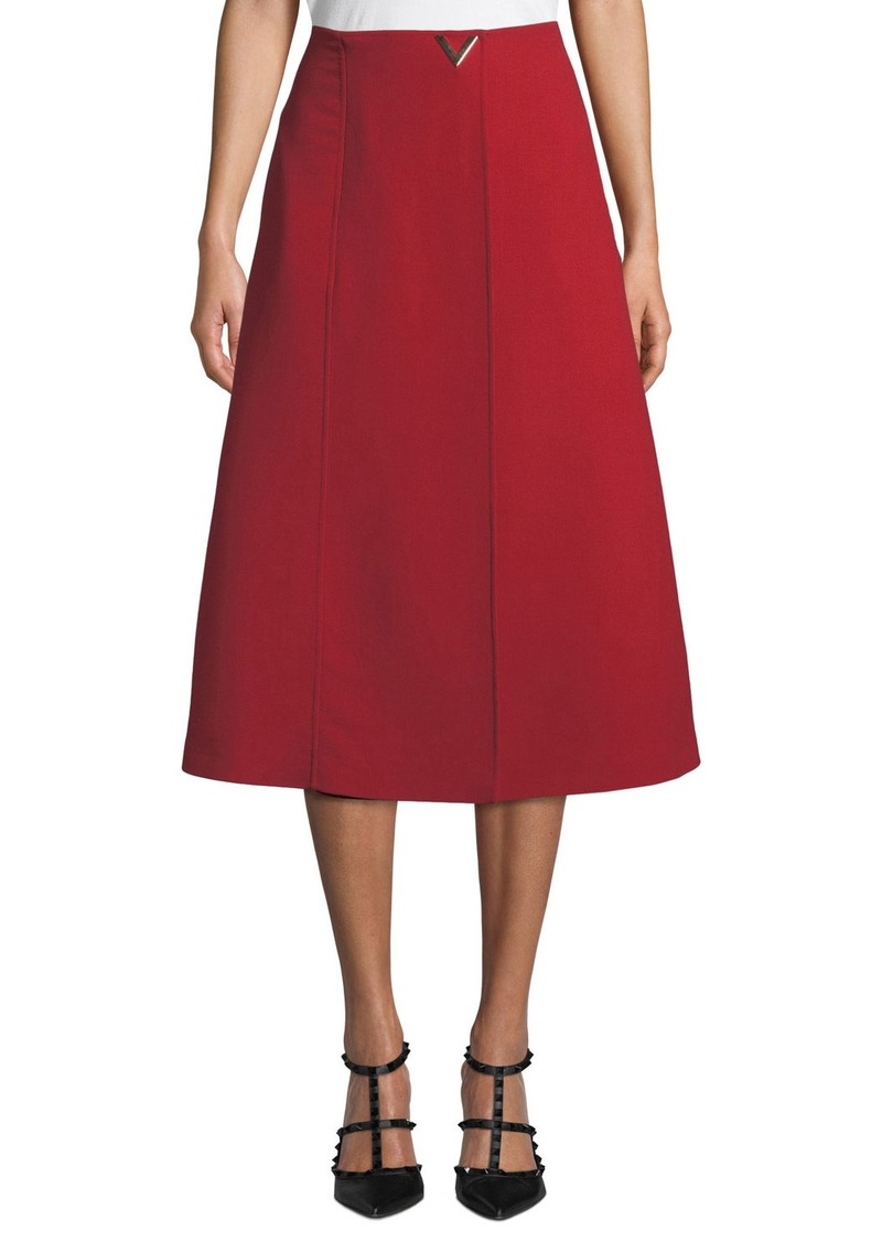 Valentino V-Hardware Double-Crepe Midi Skirt