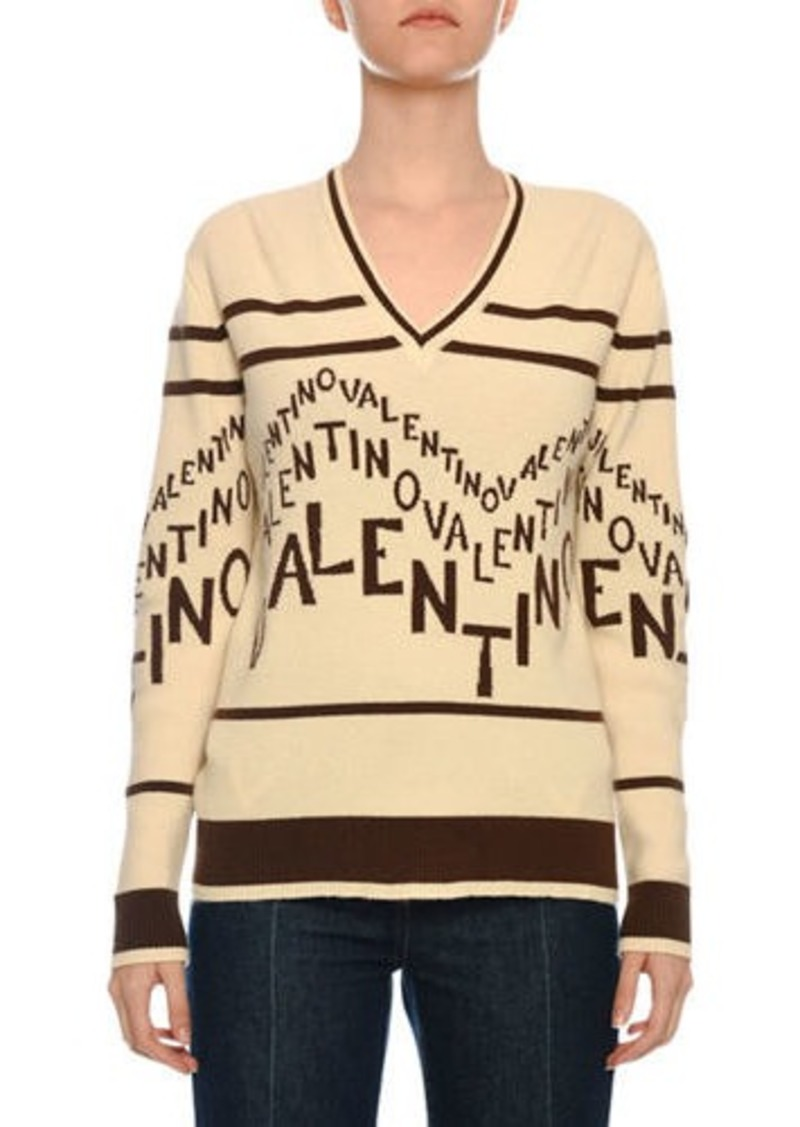 Valentino V-Neck Chevron-Logo Wool-Cashmere Sweater