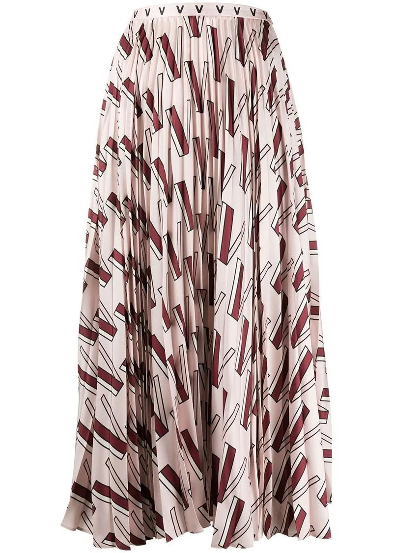 Valentino V-print pleated skirt