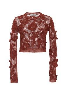 Valentino - Women's Floral-Embroidered Open-Knit Sweater - Orange - Moda Operandi