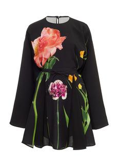 Valentino - Women's Printed Silk Mini Dress - Black - Moda Operandi