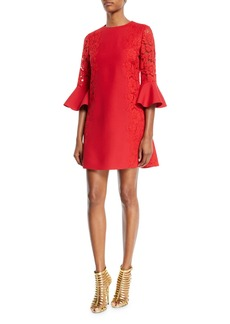 Valentino 3/4 Bell-Sleeve Lace-Panel Dress