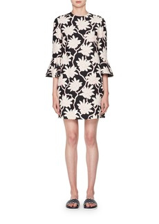 Valentino 3/4-Sleeve A-Line Floral-Print Wool-Silk Short Dress