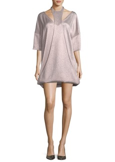 Valentino 3/4-Sleeve Hammered Lamé Dress with Cutout Detail