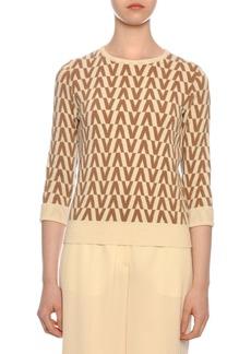 Valentino 3/4-Sleeve Logo-Knit Wool-Cashmere Sweater