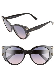 Valentino 53mm Polarized Gradient Cat Eye Sunglasses