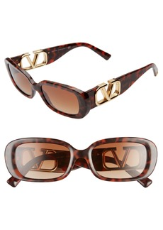 Valentino 53mm Polarized Rectangle Sunglasses