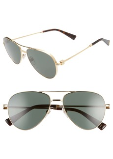 Valentino 57mm Polarized Aviator Sunglasses