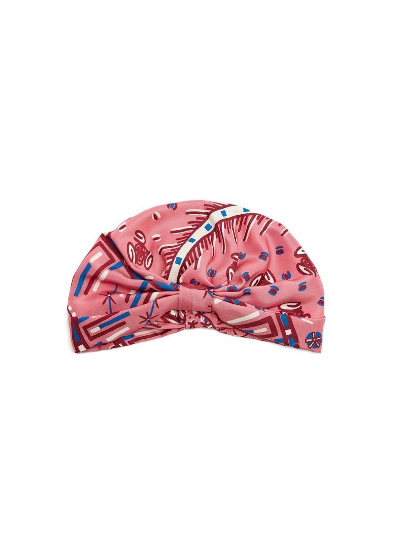Valentino Abstract-print silk-satin turban hat