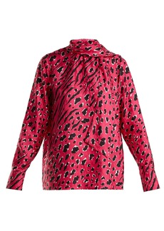 Valentino Animal-print silk blouse