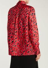 Valentino Leopard and tiger-print silk blouse