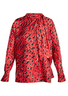 Valentino Leopard and tiger-print silk blouse
