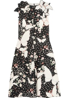 Valentino Appliquéd printed silk-crepe midi dress
