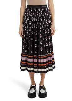 Valentino Arrow Print Pleated Jersey Midi Skirt