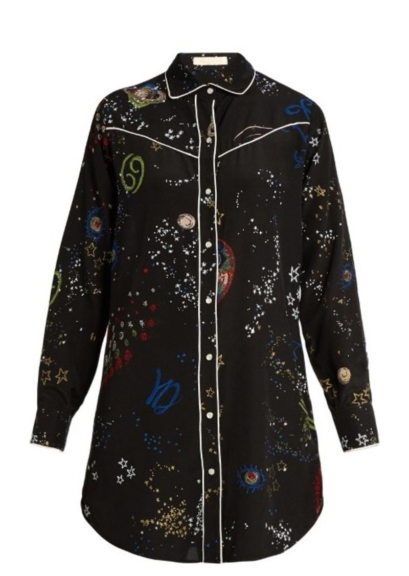 Valentino Astrocouture-print silk crepe de Chine shirt