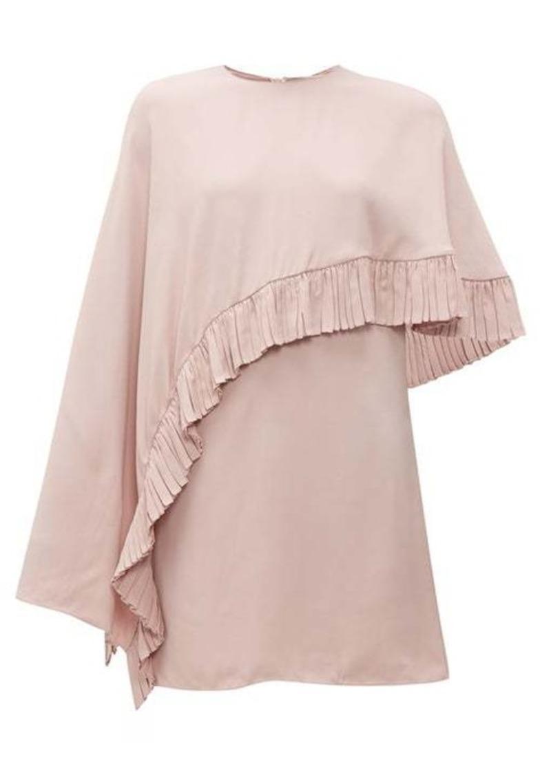 Valentino Asymmetric-cape crepe mini dress