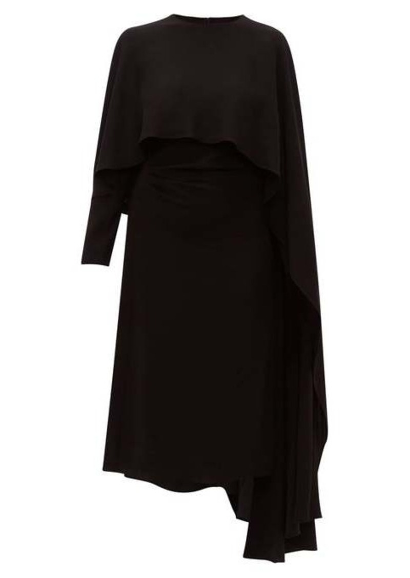 Valentino Asymmetric cape-shoulder crepe dress