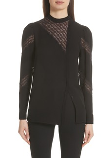 Valentino Asymmetrical Lace Panel Silk Blouse