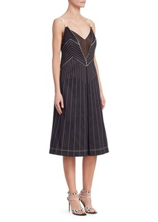 Valentino Athleisure Stripe Plunge Midi Dress