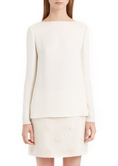 Valentino Back Bow & Cowl Cady Blouse