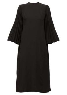 Valentino Back-pleated crepe midi dress
