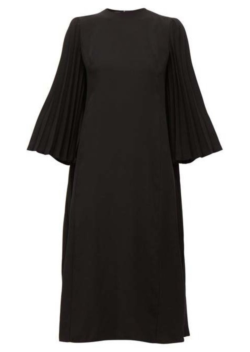 Valentino Back-pleated crepe midi dress