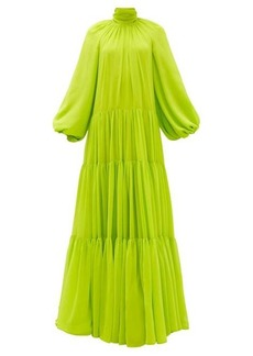 Valentino Balloon sleeve banded-chiffon gown