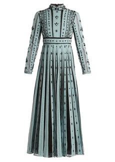 Valentino Bead-embellished pleated silk dress